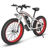 KUDOUT Bicicleta eléctrica de montaña, 800W, Batería 48V 26' E-Bike Sistema de Transmisión de 21 Velocidades con Linterna con Batería de Litio...