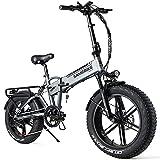 SAMEBIKE Fat Bike Bicicleta Electrica Montaña de 20 Pulgadas, Bicicleta Eléctrica Plegable con Batería de 48 V 10AH, Neumático Gordo Bicicleta de...