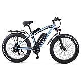 GUNAI Bicicleta eléctrica 1000W 26 Pulgadas Beach Cruiser Fat Bike con Batería de Litio de 48V 17AH (Azul)