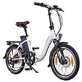 NCM Paris Bicicleta eléctrica Plegable, 250W, Batería 36V 15Ah • 540Wh (Blanco)