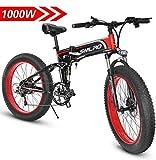 1000W Bicicleta eléctrica para Hombre Mountain Mountain Ebike 21 Velocidades 26 Pulgadas Fat Tire Road Bicycle Beach/Snow Bike con Freno de Disco...